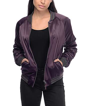 Empyre Clara Blackberry Satin Bomber Jacket