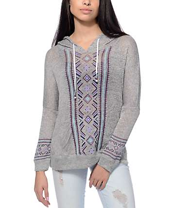 Empyre Cleo Hacci Grey & Tribal Print Knit Hoodie