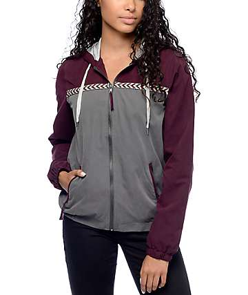Empyre Cora Burgundy & Charcoal Lined Windbreaker