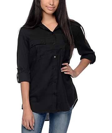 Empyre Corazon Solid Black Button Up Shirt