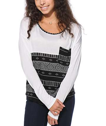 Empyre Corey Black & White Tribal Stripe Dolman Top