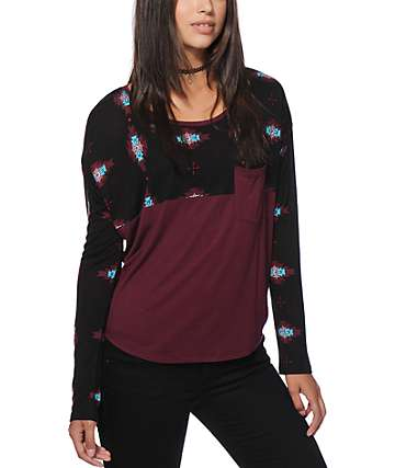Empyre Corey Burgundy Tribal Block Dolman Top