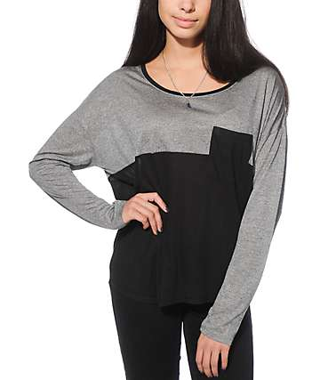 Empyre Corey Charcoal & Black Ribbed Dolman Top