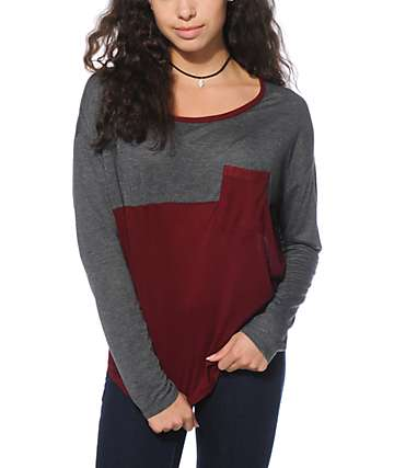 Empyre Corey Charcoal & Blackberry Ribbed Dolman Top