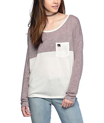 Empyre Corey Elephant Colorblock White Dolman Top