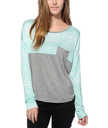 Empyre Corey Mint & Charcoal Fair Isle Dolman Top