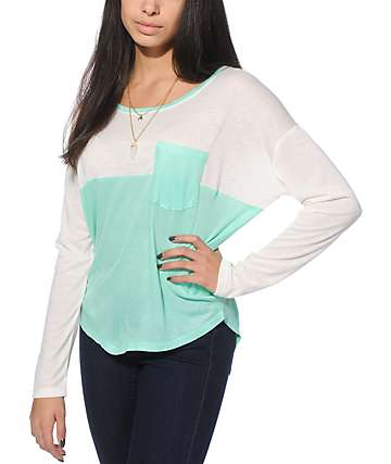 Empyre Corey White & Mint Ribbed Dolman Top