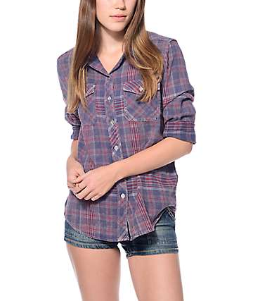 Empyre Cortland Crinkle Navy, Red & White Flannel Shirt