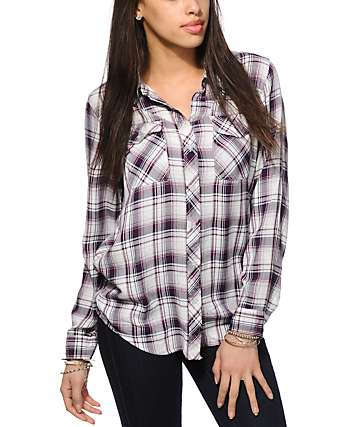 Empyre Cortland Dark Purple Plaid Shirt