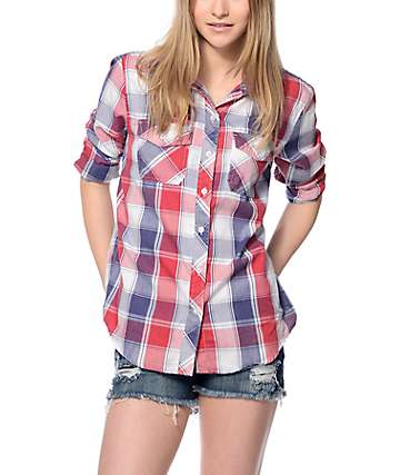 Empyre Cortland Red, Navy & White Burnout Plaid Shirt