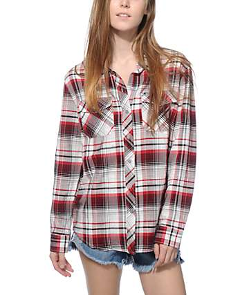 Empyre Cortland Red and Black Herringbone Plaid Button Up Shirt