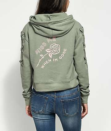Empyre Daisy Miss Me Lace Up Sleeve Olive Hoodie