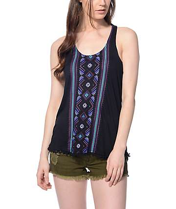 Empyre Dalton Black Tribal & Pom Trim Tank Top