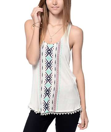 Empyre Dalton Placed Cream Tribal Tank Top