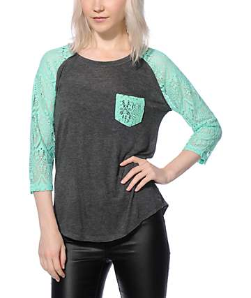 Empyre Dana Charcoal & Mint Lace Pocket Top