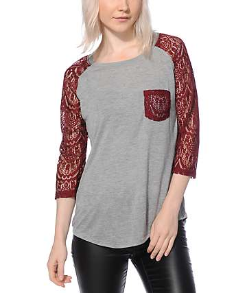 Empyre Dana Grey & Blackberry Lace Pocket Top