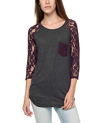 Empyre Dana Grey & Red Lace Pocket Top