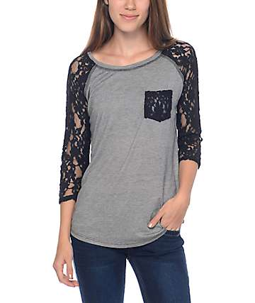 Empyre Dana Micro Stripe Black Lace Pocket Top