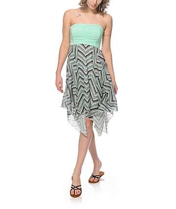 Empyre Dana Mint Chevron Strapless Dress