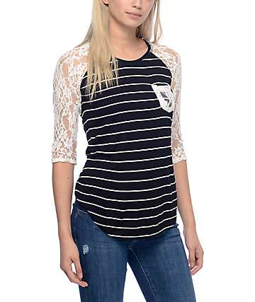 Empyre Dana Stripe Black & White Lace Pocket Top