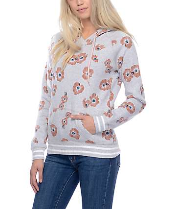 Empyre Daphne Grey Floral Pullover Hoodie