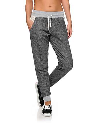 Empyre Dara Crochet Pocket Charcoal Speckle Jogger Pants