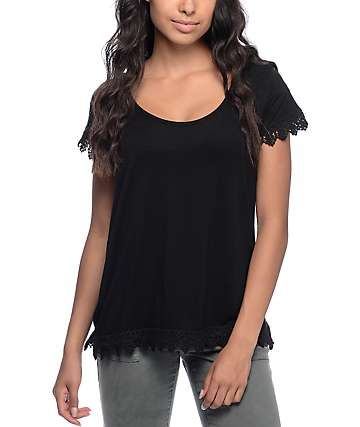 Empyre Davey Black Crochet Trim Top