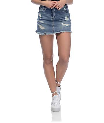 Empyre Debbie Destructed Denim Skirt