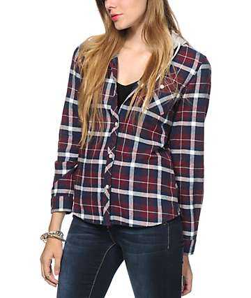 Empyre Delancy Blackberry Hooded Flannel Shirt