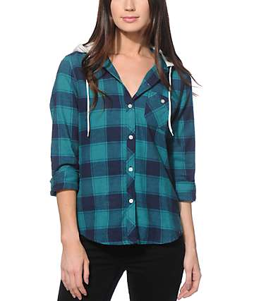 Empyre Delancy Teal Hooded Flannel Shirt