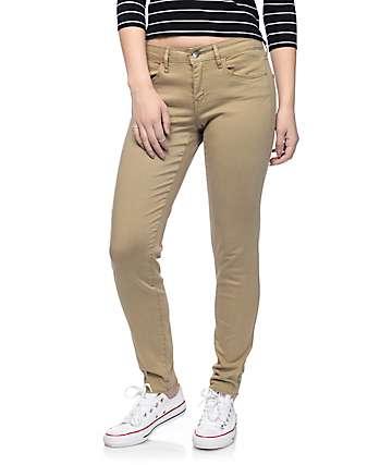 Empyre Delaney Khaki Sateen Skinny Jeans