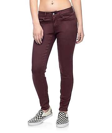 Empyre Delaney pantalones skinny de satén en color borgoño