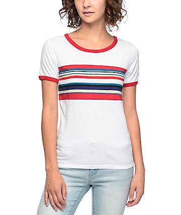 Empyre Deon Block Stripe White T-Shirt