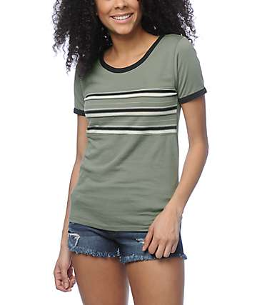 Empyre Deon Striped Olive Ringer T-Shirt