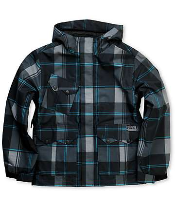 Empyre Descender Boys Black Plaid 10K Snowboard Jacket