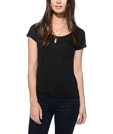 Empyre Diaz Crochet Pocket Black Dolman Top