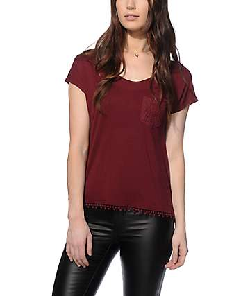 Empyre Diaz Crochet Pocket Burgundy Dolman Top