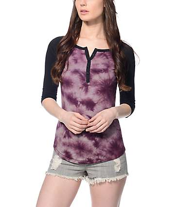 Empyre Didi Blackberry, Grey & Black Tie Dye Baseball T-Shirt