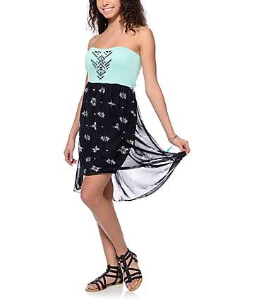 Empyre Dinah Tube Mint & Black Tribal Dress