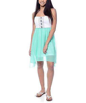 Empyre Dinah White & Mint Tube Dress