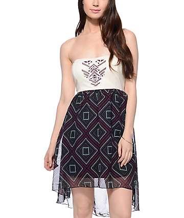 Empyre Dinah vestido de tubo en borgoña, menta y crema