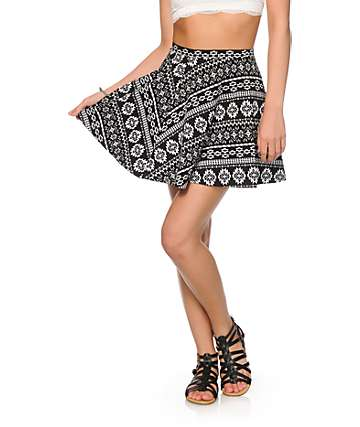Empyre Dixie Black & White Tribal Skater Skirt