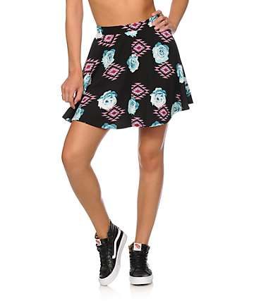 Empyre Dixie Tribal Floral Skater Skirt