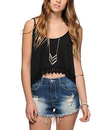 Empyre Donato Black Crop Tank Top