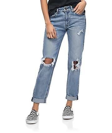 Empyre Easton Destroyed Boyfriend Medium Wash Jeans