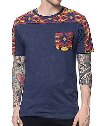 Empyre Eastside Navy & Tribal Pocket T-Shirt