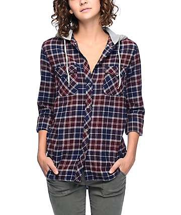 Empyre Eddy Burgundy & Navy Hooded Flannel Shirt