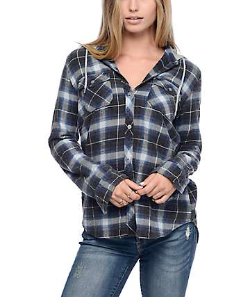 Empyre Eddy Grey & Blue Plaid Hooded Flannel