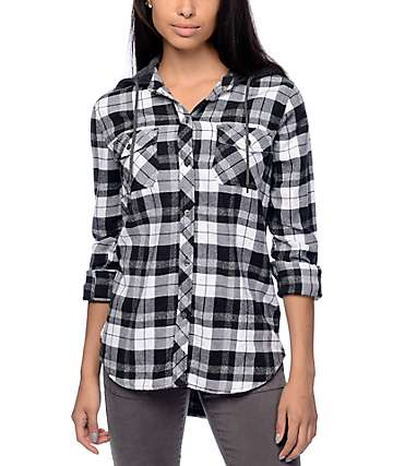 Empyre Eddy Grey & White Plaid Hooded Flannel