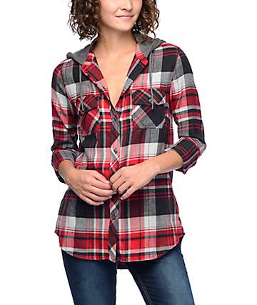 Empyre Eddy Red, Grey & Black Hooded Flannel Shirt